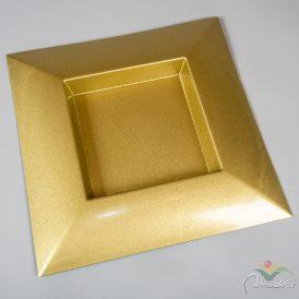 Szögletes műanyag tál arany glitteres 40x40cm