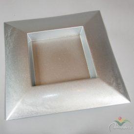 Szögletes műanyag tál ezüst glitteres 40x40cm
