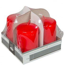 Lakkozott adventi gyertya 80x50mm piros 4db/csom (db ár)