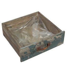 Fa fiók antik kék  24x22x8cm