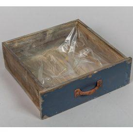 Fa fiók antik sötét kék 24x22x8cm