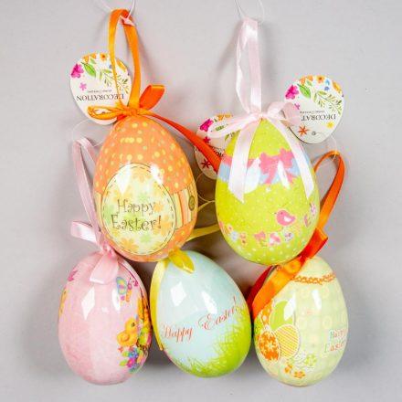 Mintás műanyag tojás akasztós fényes 10cm