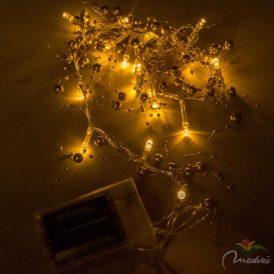 20 LED-es arany gyöngyös fényfüzér elemes (elem nélkül) meleg