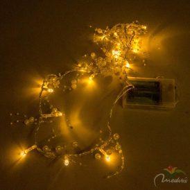 20 LED-es fehér gyöngyös fényfüzér elemes (elem nélkül) meleg
