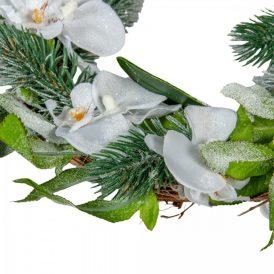 Orchideás glitteres koszorú D30cm