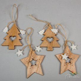 Akasztós áttört fenyőfa-csillag natúr 10cm 4db-os
