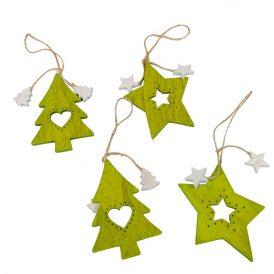 Akasztós áttört fenyőfa-csillag zöld 10cm 4db-os