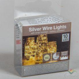 10 LED-es ezüst drótkábeles vízálló fényfüzér elemes (elem nélkül) meleg