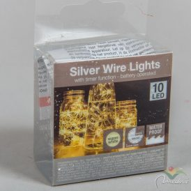 10 LED-es ezüst drótkábeles vízálló fényfüzér elemes (elemmel) meleg