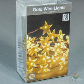 40 LED-es arany drótkábeles csillag elemes (elem nélkül) extra meleg