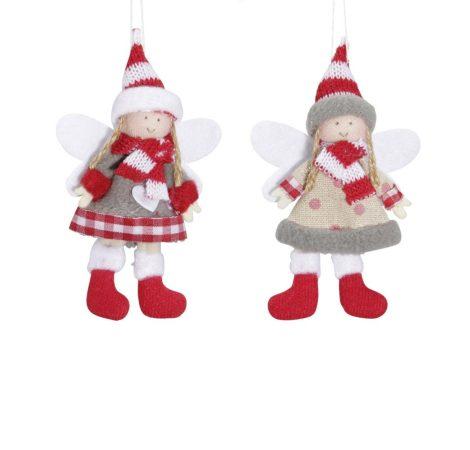Akasztós angyal lány piros-szürke 12,5cm 2db-os