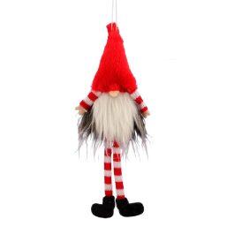 Akasztós sapkás, szakállas manó piros 22cm