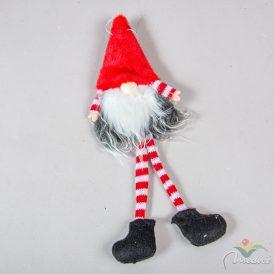 Akasztós sapkás, szakállas manó piros 28cm