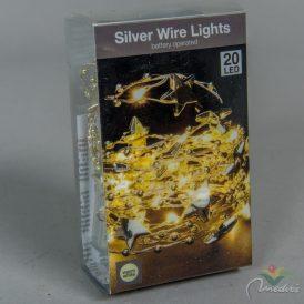 20 LED-es arany csillagos,gyöngyös fényfüzér elemes (elem nélkül) meleg
