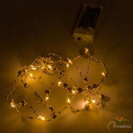 20 LED-es arany mintás fényfüzér elemes (elem nélkül) meleg