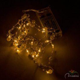 20 LED-es fehér mintás fényfüzér elemes (elem nélkül) meleg
