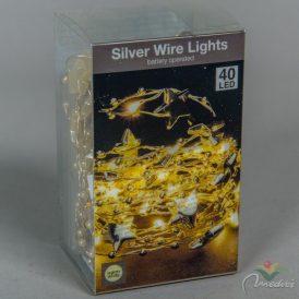40 LED-es fehér mintás  fényfüzér elemes (elem nélkül) meleg