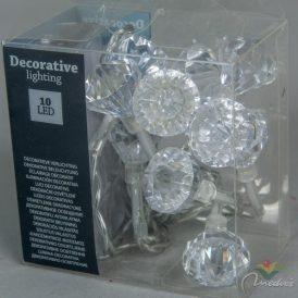 20 LED-es színes gyöngyös fényfüzér elemes (elem nélkül) meleg