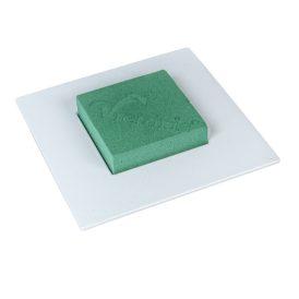 Négyzetes ikebana vizes tűzőhabbal fehér M6x19x19cm (db ár)