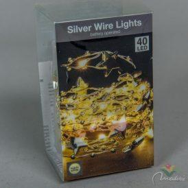 40 LED-es arany csillagos, gyöngyös fényfüzér elemes (elem nélkül) meleg