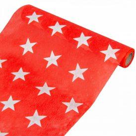 Csillag mintás dekor anyag piros 28x400cm