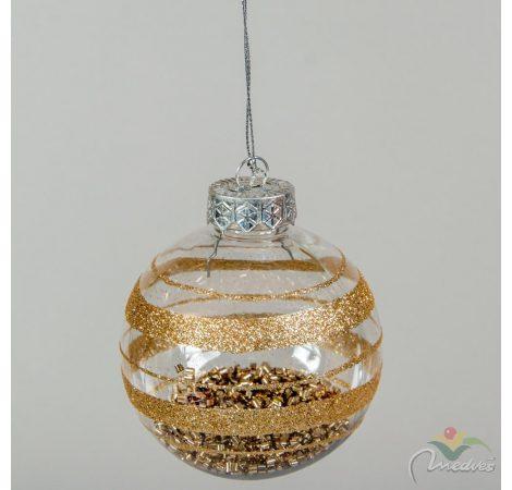 Átlátszó gömb kívül-belül arany glitterrel 80mm
