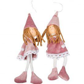 Akasztós textil lányka pink 20cm 2db-os