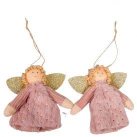 Akasztós textil angyal pink 10cm 2db-os