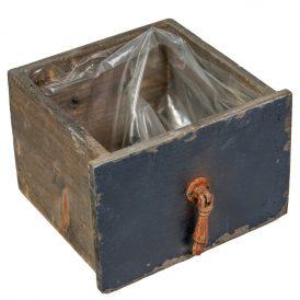 Fa fiók antik sötétkék M11x16x14cm