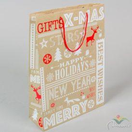 Karácsonyi mintás ajándéktasak 25x34cm