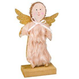 Álló fa angyal szőrös 16cm