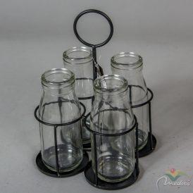Üveg palackok 4db-os fém tartóval M22cm