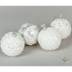 Glitteres habgömb fehér 80mm