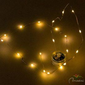 20 LED-es ezüst drótkábeles vízálló fényfüzér elemes (elem nélkül) meleg