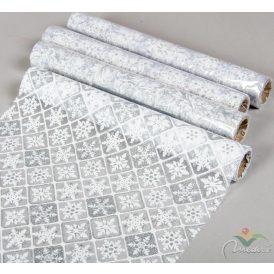 Organza dekor anyag ezüst-fehér glitteres mintával 30x500cm