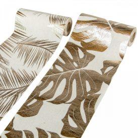 Levél mintás  vászon tekercs pezsgő 14x270cm