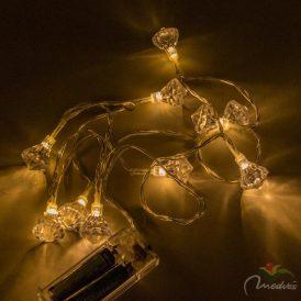 10 LED-es gyénánt mintás led füzér elemes (elem nélkül) meleg