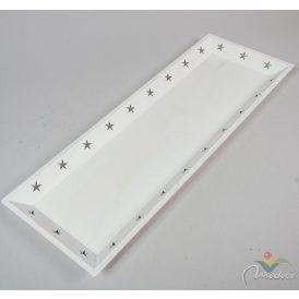 Lézervágott mintás fa tálca fehér  60x22cm