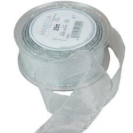 Textil szalag HOLLY ezüst 40mm x 25m