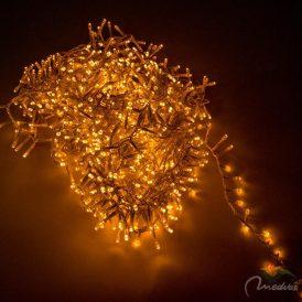 1000 LED-es transparans sűrű fényfüzér programos adapterrel extra meleg