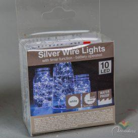 10 LED-es ezüst drótkábeles vízálló fényfüzér elemes (elem nélkül) hideg