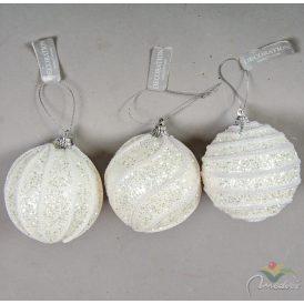 Glitteres mintás műanyag gömb fehér 80mm