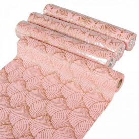 Glitteres mintás tekercs rózsaszín-arany 28x270cm