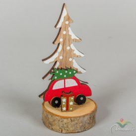 Fa autó fenyővel fa talpon M14cm