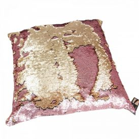 Flitteres párna arany-rózsaszín 43x43cm