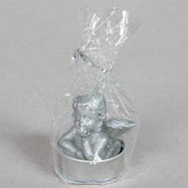 Angyalfej mintás teamécses ezüst 5cm