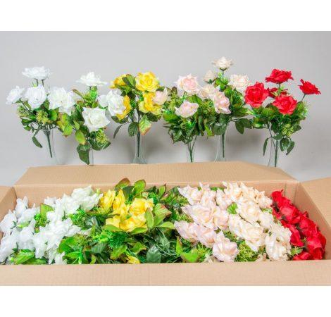 Rózsa csokor szatén 5v. M33cm 24db/#