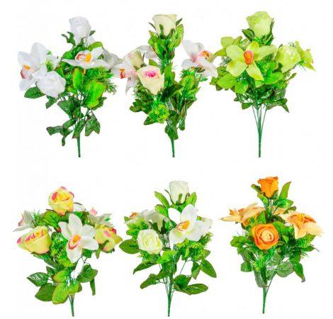 Rózsa, orchidea csokor 7v. M42cm 18db/#