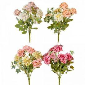 Rózsa,dália csokor 9v. M42cm 18db/#