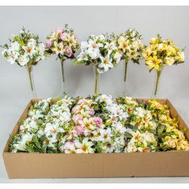 Rózsa, liliom csokor 12v. M35cm 24db/#